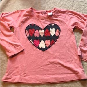 Gymboree pink long-sleeve heart shirt like new 4-5